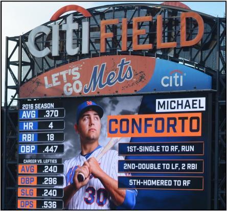 Conforto on scoreboard